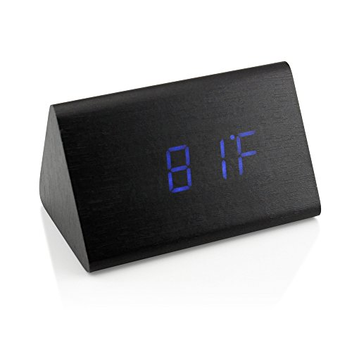 Triangle Black Clock (GEARONIC TM Modern Triangle Wood Clock Digital LED Wooden Alarm Clocks Digital Desk Thermometer Classical Timer Calendar Updated 2018 Brighter LED - Black)