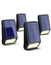 LED Solarleuchten Zaun, LOHAS Solar Zaunbeleuchtung, Außenbeleuchtung, 8 LEDs, 5V, 150LM und 0,8W, 6000K Kaltweiß, Außenlicht, Wasserdichte IP65, für Garten/Treppen, Wandleuchte Aussen, 4er Pack