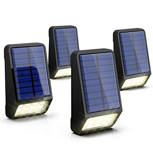 LOHAS Solar Fence Post Lights, IP65 Waterproof Mini Solar Lights Outdoor, 8 LEDs Deck Post Solar Light for Security, Outdoor Night Light Daylight 6000K, Auto on/Off Backyard Wall Mount Light, 4Pack