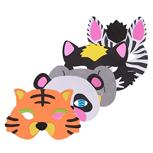 5pcs Animal Face Mask for Children Kids Birthday Party Favors Dress Up Costume ()