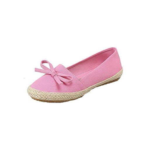AgooLar Damen Ziehen auf Niedriger Absatz Gewebe Rein Rund Zehe Pumps Schuhe