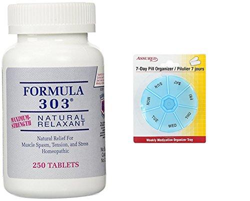 Amazon.com: Dee Cee laboratorios fórmula 303 fuerza máxima Natural relajante tabletas, tabletas de 250 con gratis 7 días plástico píldora organizadores: ...