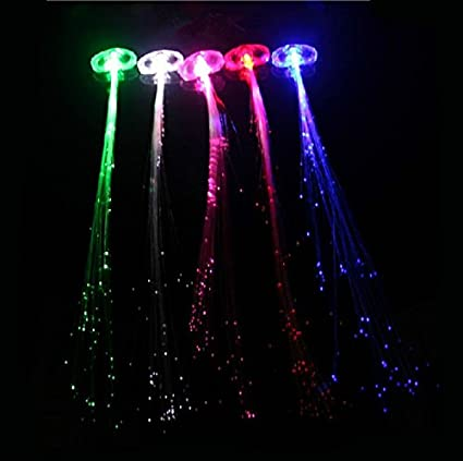 Doigt lumineux/clignotant lacets élastiques cheveux/lumineux LED \u2013  multicolore clignotant Barrette à cheveux