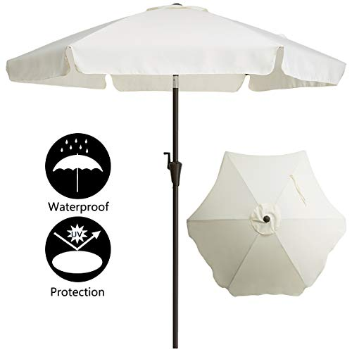 TAGI 7.5 Feet Patio Umbrella, Aluminum Pole Fiberglass Rib Outdoor Umbrella, Crank Lift, 3-Way Tilt, Beige ()