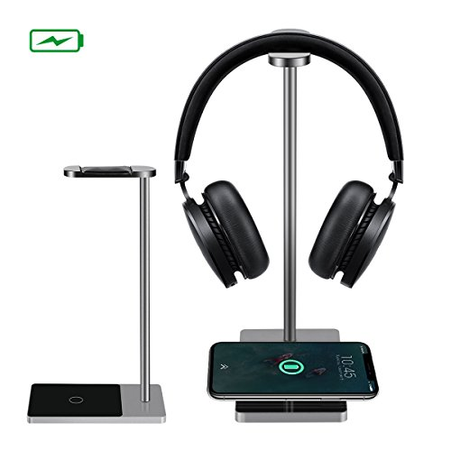Wireless Charger, MWAY Wireless Charging Headphone Stand Aluminum+ Acrylic Headset Holder for All Headphones Headset Size,High Speed Charging for Galaxy S8/S8+/Note 8 5 S7/LG/HTC/iPhone 8/8Plus/X