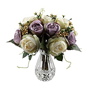 famibay Artificial Rose 2pc, Elegant Fake Flowers Bridal Wedding Bouquet Silk Plastic Faux Floral with Stems for Home Party Decoration(Off White and Purple) 54