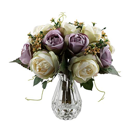 famibay Artificial Rose 2pc, Elegant Fake Flowers Bridal Wedding Bouquet Silk Plastic Faux Floral with Stems for Home Party Decoration(Off White and Purple)