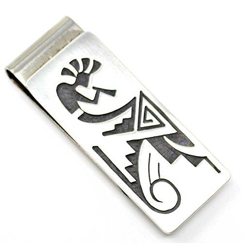 (Hopi Sterling Silver Money Clip Featuring Kokopelli, Corn & Clouds Rain Symbols...)