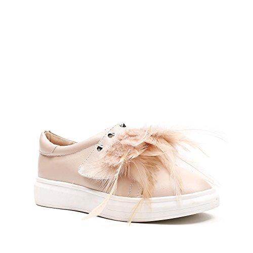 Plumes Slip et on de Décoré en Haley Rose Clous Ideal Shoes Similicuir zgEqxwp58