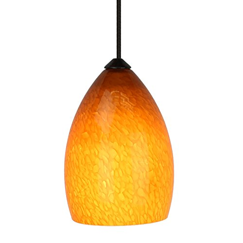 Direct-Lighting 1 Light Mini Pendant Lighting Kit, Amber Glass Shade, Rust Finish, DPNL 22/6-AM - Amber Mini Pendant