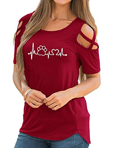 (Women Funny Cute Criss Cross Sleeve Loose Pawprint Heartbeat T-Shirt Top Tee(2XL, style2-red))