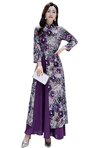 (Aries Tuttle Purple Chinese Style Qipao Women's Birthday Party Collar Floral Long Cheongsam Dress Retro)