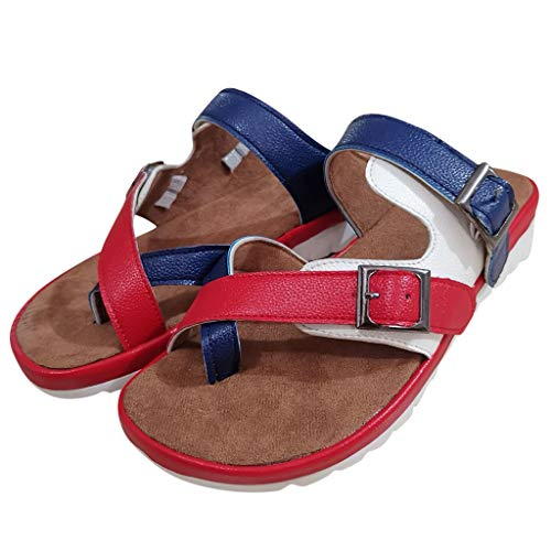 SSYUNO Womens Thong Flat Sandals Gladiator Buckle Strappy Cork Sole Summer Slides Red -