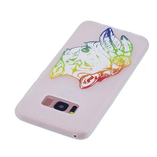 Funda Samsung Galaxy S8,XiaoXiMi Carcasa de Silicona TPU Suave y Esmerilada Funda Ligero Delgado Carcasa Anti Choque Durable Caja de Diseño Creativo - Mapa Lobo