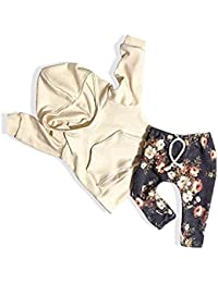 492ae9959 Baby Girls Long Sleeve Flowers Hoodie Top and Pants Outfit with Kangaroo  Pocket