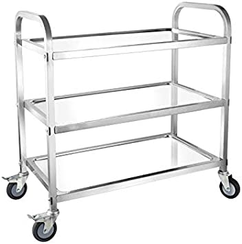 3Tier Heavy Duty Stainless Wheel Trolley Cart w//Brake Hotel Catering Train Serve