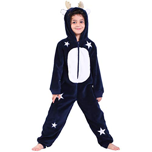 Kids Pajama Onesie with Moose Hood for Boys Girls Cosplay,All-in-One Costume,Stars Embroidery Animal Christmas (14 Years) Navy
