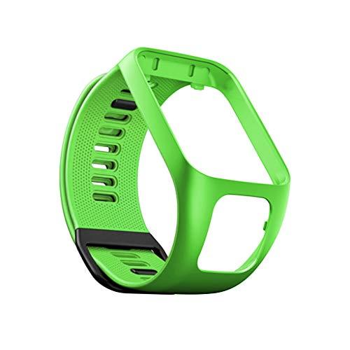 Kintaz Replacement Silicone WatchBand Bracelet Wristband for Tomtom Adventurer/Runner 2 3 / Spark 3 (Green)