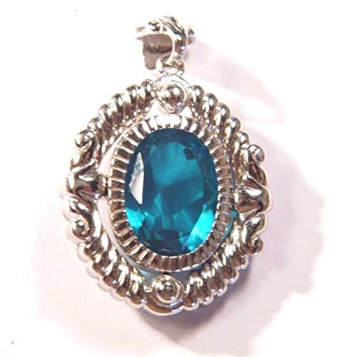 Capri Blue Quartz Doublet Gemstone Sterling Silver Pendant & 18'' SS Chain w/Box ()