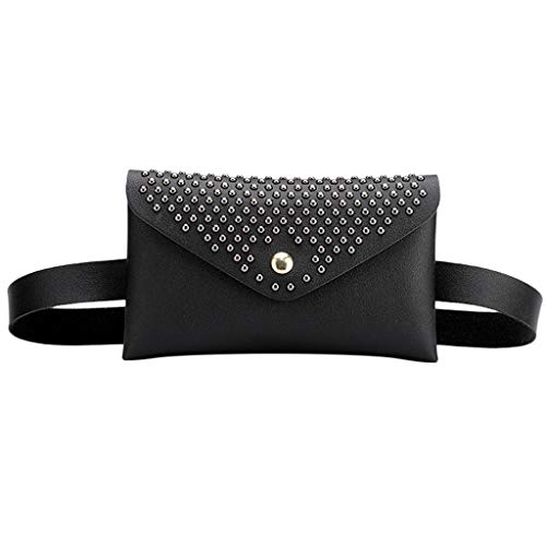 Vibola Waist Pack,Rivets Hasp Solid Color Crossbody Bag Versatile Shoulder Messenger Pouch Fanny Pack for Workout Vacation Hiking (Black) (Keen Bags Messenger)