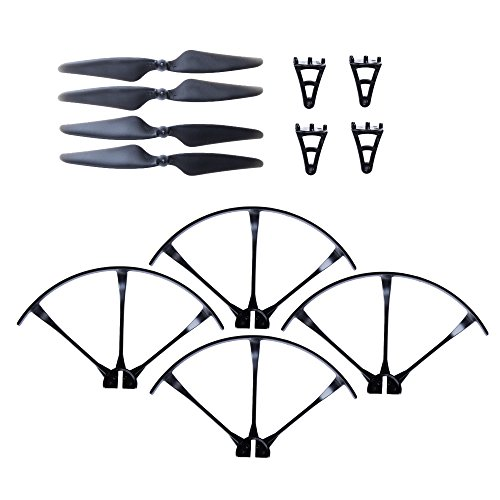 F100 & F100 Ghost Drone Parts Crash Pack - Propellers, Prop Guards & Landing Gear - Spare Parts Kit Also Compatible w/ MJX B3 Bugs 3 (Ghost Kit)