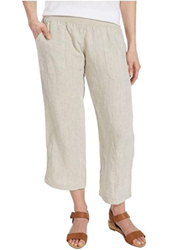 Flax Linen Pants (Allen Allen Womens Linen Crop Pant (Medium, Flax))
