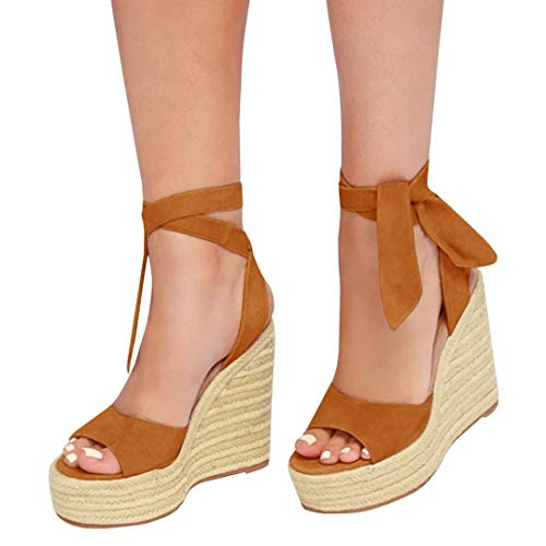 Chunky Platform Wrap Heel Ankle - Liyuandian Womens Platform Espadrille Wedges Open Toe High Heel Sandals with Ankle Strap Buckle Up Shoes