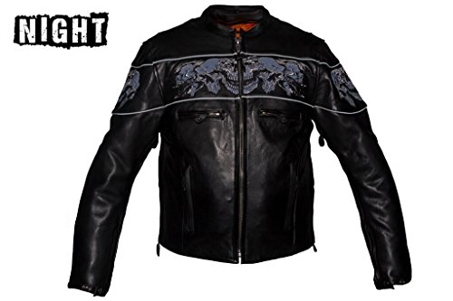 Dream Men's Motorcycle Riding Blk Reflective Skull Leather Jacket Big Sizes Upto 10xl (6XL Regular) by Dream (Image #6)'