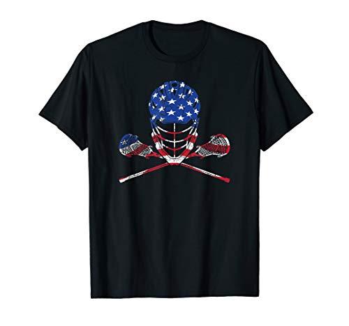 - Lacrosse Shirt American Flag, Lax Helmet And Sticks T-Shirt