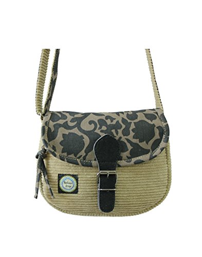 a Anekaant borsa di Velluto capriccioso coste assortito e Beige donna in a da stampata tela tracolla FdxYBwx