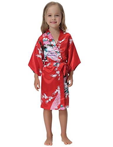 Aibrou Girls' Peacock Satin Kimono Robe Bathrobe Nightgown For Party Wedding,14,Red