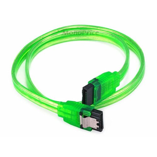 SATA3 Cables w/Locking Latch / UV Green - 18 Inches [Electronics] (1)