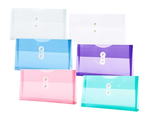 Expanding Catalog Envelopes (Filexec, 1530, Poly Envelope, Side-Loading, Check Size, Set of 12 in 6 Assorted Colors, 2 Each Smoke, Blue, Red, Clear, Purple, Green)