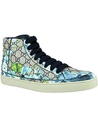 116ba074c24 Men s Bloom Print Supreme GG Blue Canvas Hi Top Sneaker Shoes 407342 8470