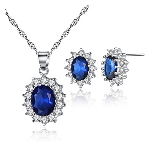 18K White Gold Plated Princess Diana William Kate Middleton's Created Blue Necklace and Stud Earrings Jewerly Set for Women Girls,Great Gift for Mother's Day
