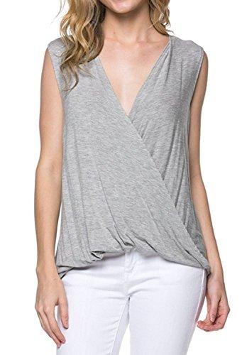 Top Sleeveless Wrap Rayon - Azules Women's Deep Criss Cross Sleeveless Shirt (X-Large, Heather Grey)