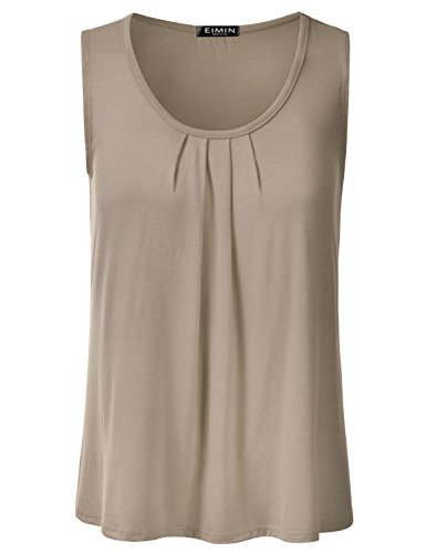 EIMIN Women's Pleated Scoop Neck Sleeveless Loose Fit Basic Soft Tank Top Khaki L by EIMIN
