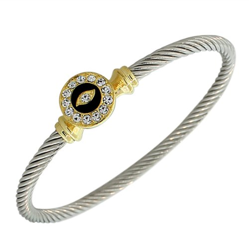 Fashion Alloy Silver-Tone Black White CZ Twisted Cable Evil Eye Bangle Bracelet - Silver Tone Cable