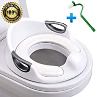 Potty Training Seat, HOOMALL Toilet Seat for Toddlers Kids Boys Girls with Soft Cushion Handles for Round Oval Toilets Double Anti-Slip Design Splash Guard(Free Brush) (for Toddlers, White)
