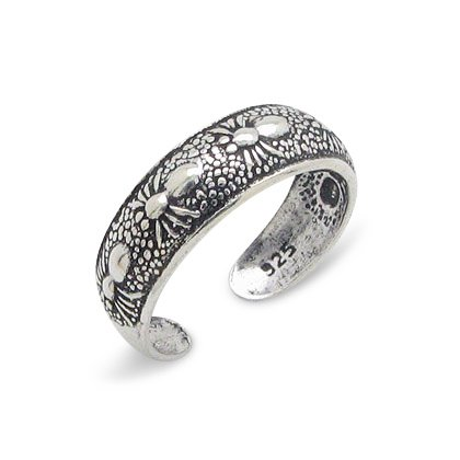 Antiqued Sterling Silver Toe R