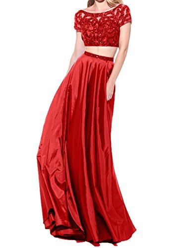U Langes Rot Damen Charmant Satin Abendkleider Rock Ballkleider Ausschnitt Abschlussballkleider Pailletten vEBwqw