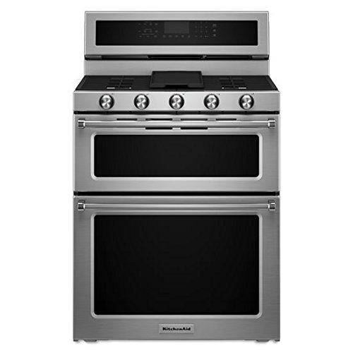 (KITCHENAID KFGD500ESS Double Oven Gas Freestanding Range, 6.7 cu. ft. Pyro Self-Clean, 1-16K, 1-10K, 2-5K, 7.3K Oval, Griddle, True Convection, Roller Rack, Glass Controls )