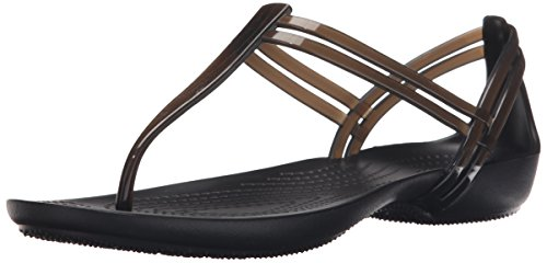(crocs Women's Isabella T-Strap Jelly Sandal, Black, 7 M US )