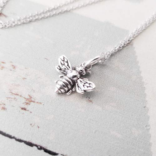Bee Necklace Charm (Sterling Silver Oxidized Bee Charm Necklace 18