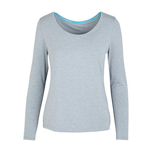 Redondo Mujer De Básica Cuello Larga Manga Para Camiseta Con Gris Two Grey wI8077