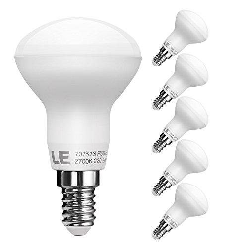 LE E14 R50 LED Reflektor Reflektorlampe, ersetzt 45W Glühlampen, LED Birnen Lampe 6W 480lm, Warmweiß 2700K, 120 ° Abstrahlwinkel, 5er Pack