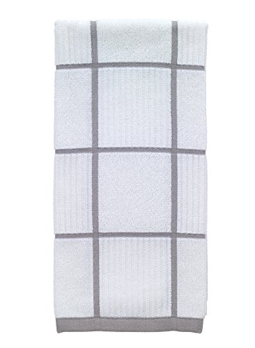 T-Fal Textiles Woven Checked Parquet Design, Highly Absorbent 100% Cotton Kitchen Dish Towel, 16-inch by 26-inch, Gray