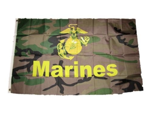 3x5 U.S. Marines USMC EGA Emblem Woodland Camouflage Flag 3x5 Brass Grommets BEST Garden Outdor Decor polyester material FLAG PREMIUM Vivid Color and UV Fade Resistant