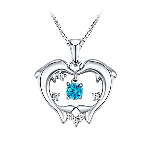 ACOGO Jewelry Platinum-Plated Dolphin Pendant Necklace, CZ Crystal, Special Gift for Girls & Women, 18''