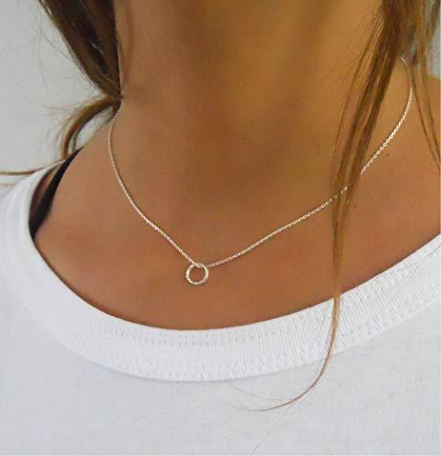 Handmade Tiny Circle Pendant Karma Silver Necklace